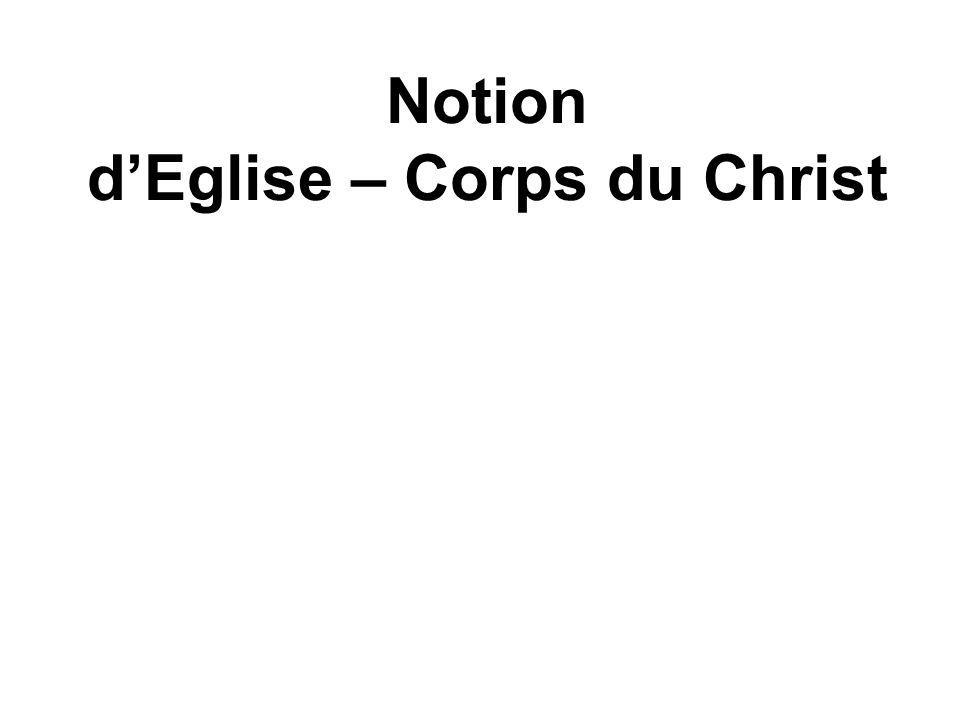 Notion d'Eglise – Corps du Christ