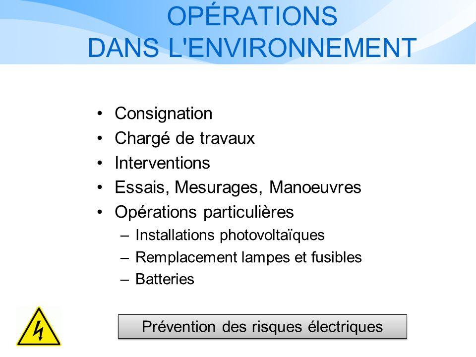 OPÉRATIONS DANS L ENVIRONNEMENT