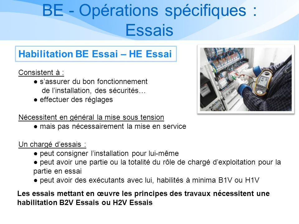 BE - Opérations spécifiques : Essais