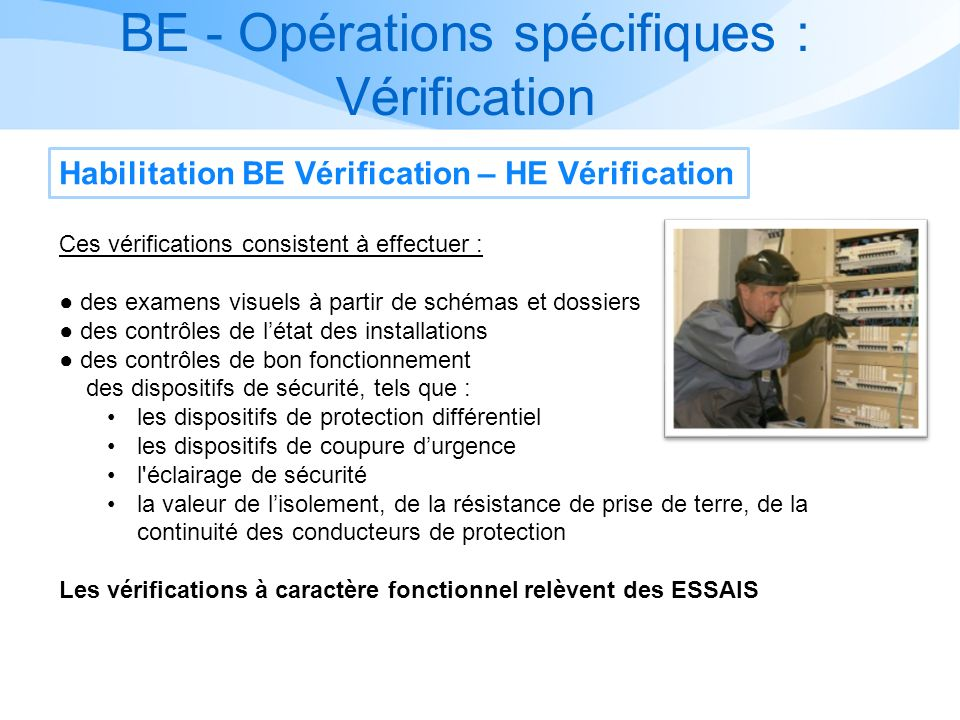 BE - Opérations spécifiques : Vérification