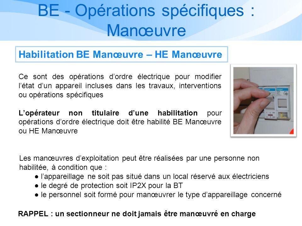 BE - Opérations spécifiques : Manœuvre