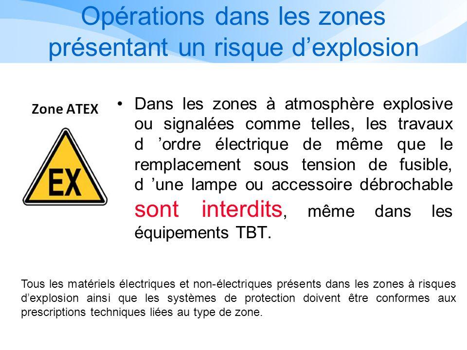 Opérations dans les zones présentant un risque d'explosion