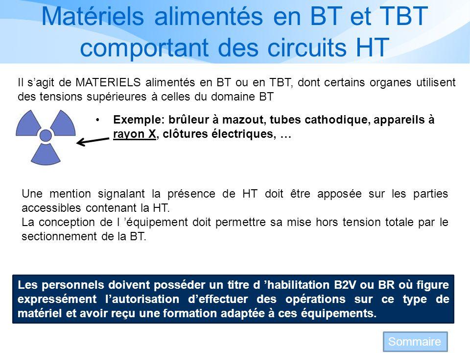 Matériels alimentés en BT et TBT comportant des circuits HT