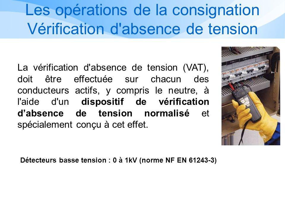 Les opérations de la consignation Vérification d absence de tension