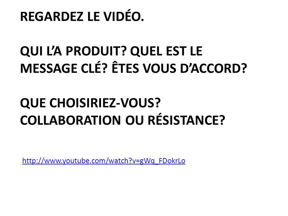 Regardez le Vidéo. Qui l'a Produit. Quel est le message Clé