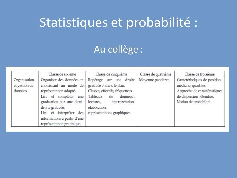Statistiques et probabilité :