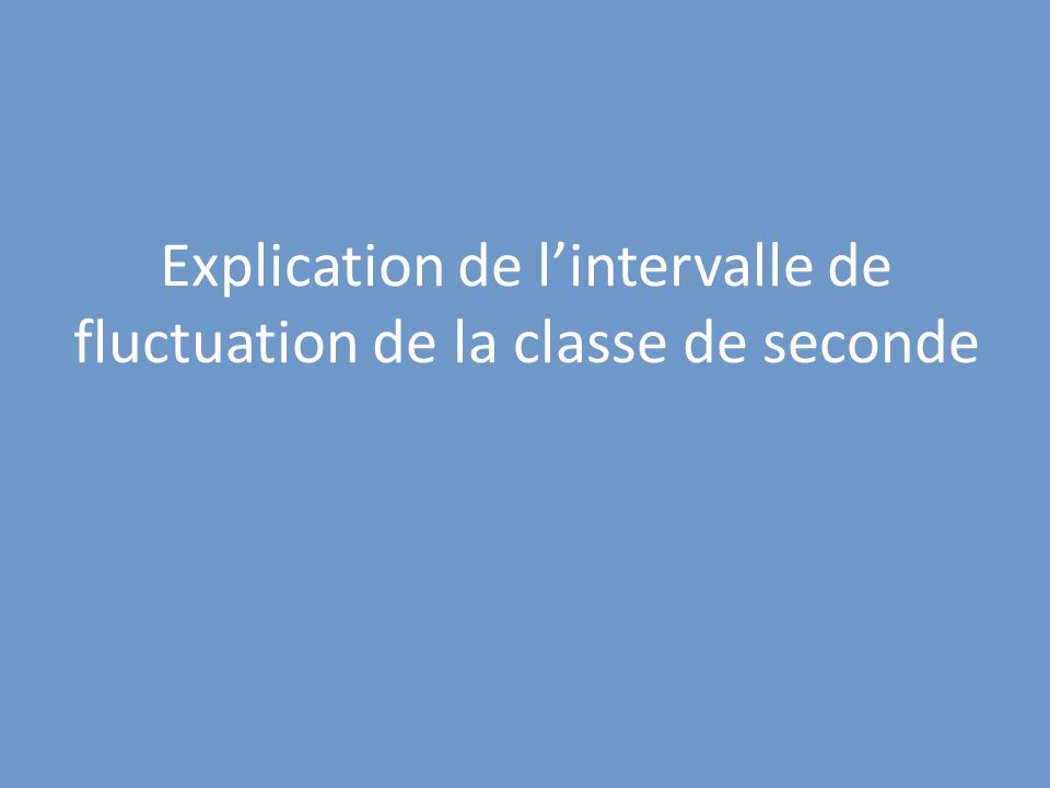 Explication de l'intervalle de fluctuation de la classe de seconde
