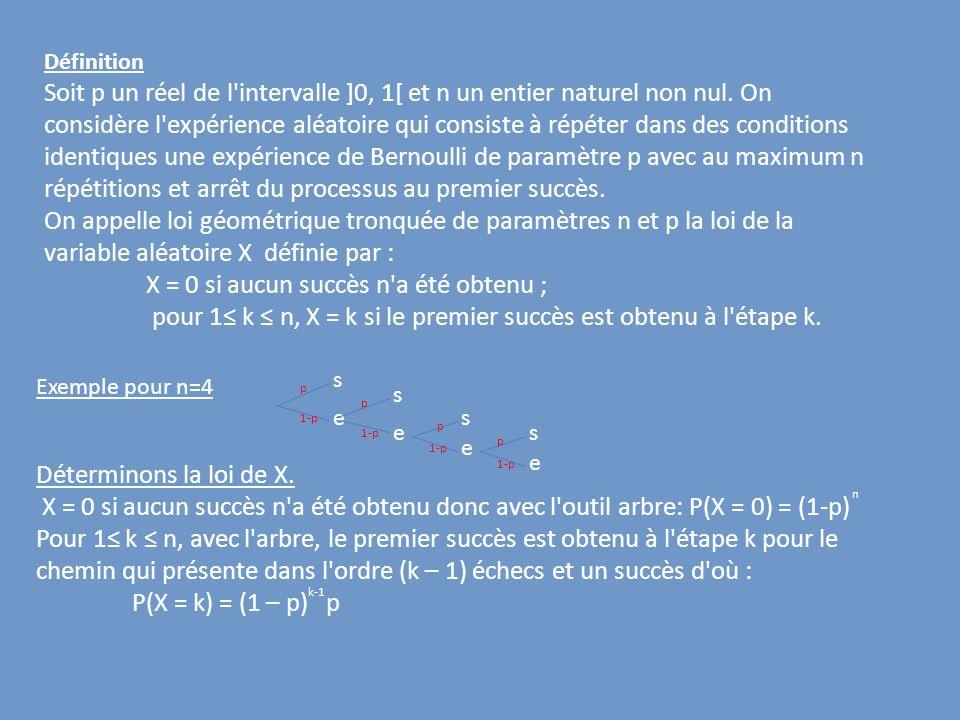 X = 0 si aucun succès n a été obtenu ;