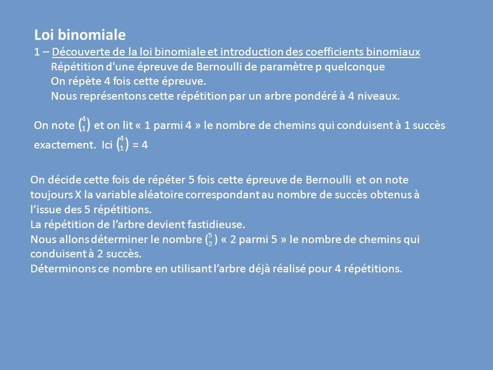 Loi binomiale 1 – Découverte de la loi binomiale et introduction des coefficients binomiaux.
