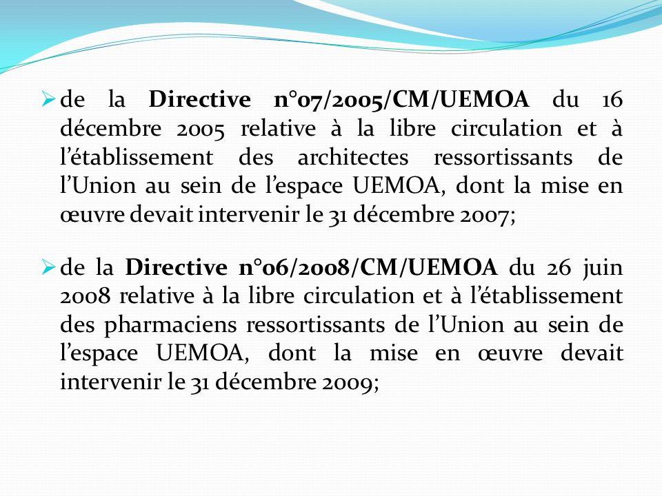 de la Directive n°07/2005/CM/UEMOA du 16 décembre 2005 relative à la libre circulation et à l'établissement des architectes ressortissants de l'Union au sein de l'espace UEMOA, dont la mise en œuvre devait intervenir le 31 décembre 2007;