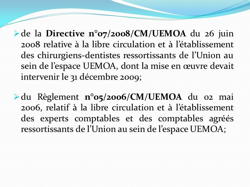 de la Directive n°07/2008/CM/UEMOA du 26 juin 2008 relative à la libre circulation et à l'établissement des chirurgiens-dentistes ressortissants de l'Union au sein de l'espace UEMOA, dont la mise en œuvre devait intervenir le 31 décembre 2009;