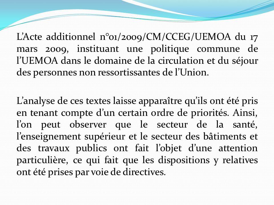 L'Acte additionnel n°01/2009/CM/CCEG/UEMOA du 17 mars 2009, instituant une politique commune de l'UEMOA dans le domaine de la circulation et du séjour des personnes non ressortissantes de l'Union.