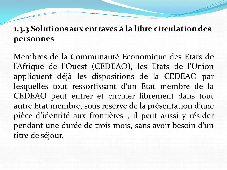 1.3.3 Solutions aux entraves à la libre circulation des personnes Membres de la Communauté Economique des Etats de l'Afrique de l'Ouest (CEDEAO), les Etats de l'Union appliquent déjà les dispositions de la CEDEAO par lesquelles tout ressortissant d'un Etat membre de la CEDEAO peut entrer et circuler librement dans tout autre Etat membre, sous réserve de la présentation d'une pièce d'identité aux frontières ; il peut aussi y résider pendant une durée de trois mois, sans avoir besoin d'un titre de séjour.
