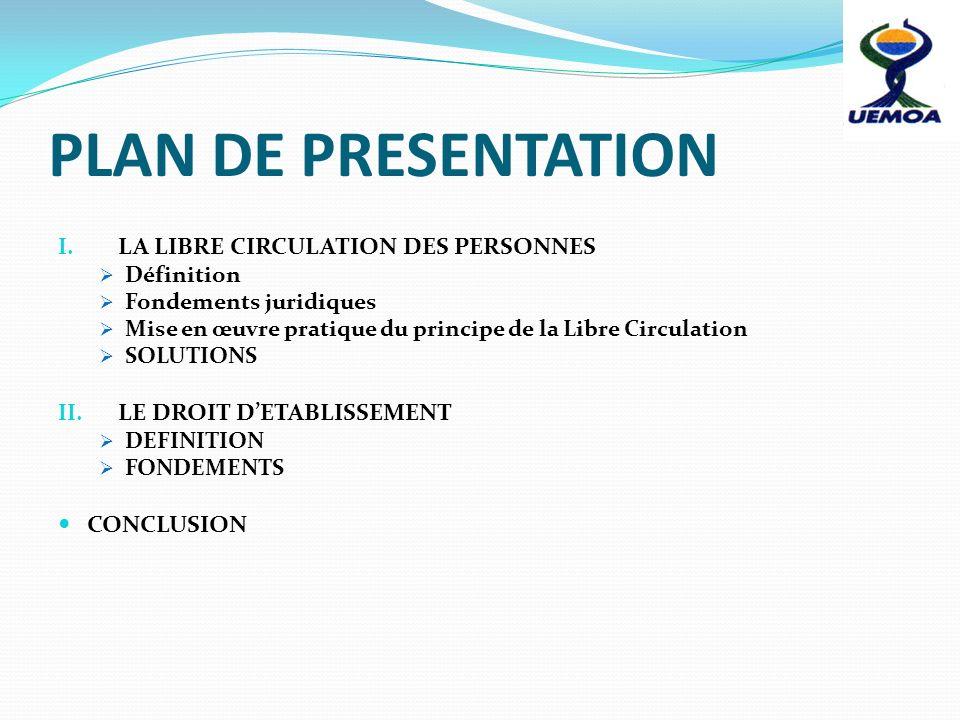PLAN DE PRESENTATION LA LIBRE CIRCULATION DES PERSONNES
