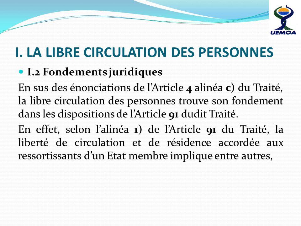 I. LA LIBRE CIRCULATION DES PERSONNES
