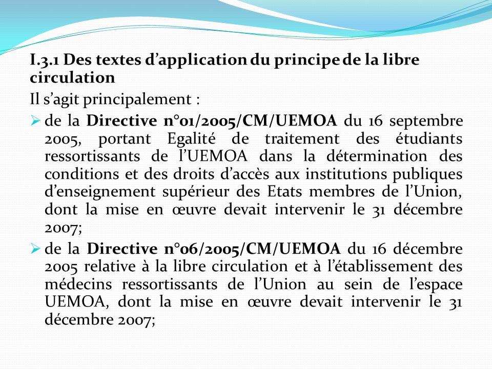 I.3.1 Des textes d'application du principe de la libre circulation