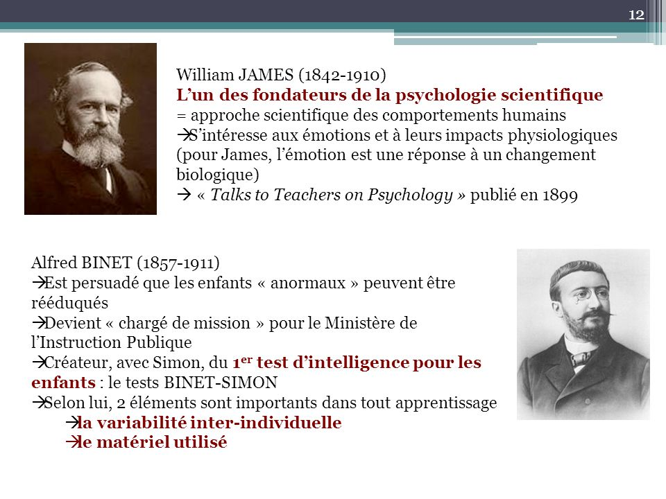 William JAMES (1842-1910) L'un des fondateurs de la psychologie scientifique. = approche scientifique des comportements humains.