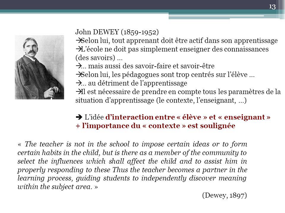 John DEWEY (1859-1952) Selon lui, tout apprenant doit être actif dans son apprentissage.