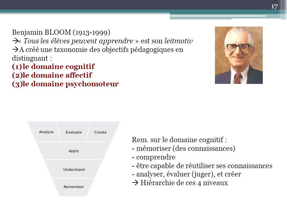 Benjamin BLOOM (1913-1999) « Tous les élèves peuvent apprendre » est son leitmotiv. A créé une taxonomie des objectifs pédagogiques en distinguant :