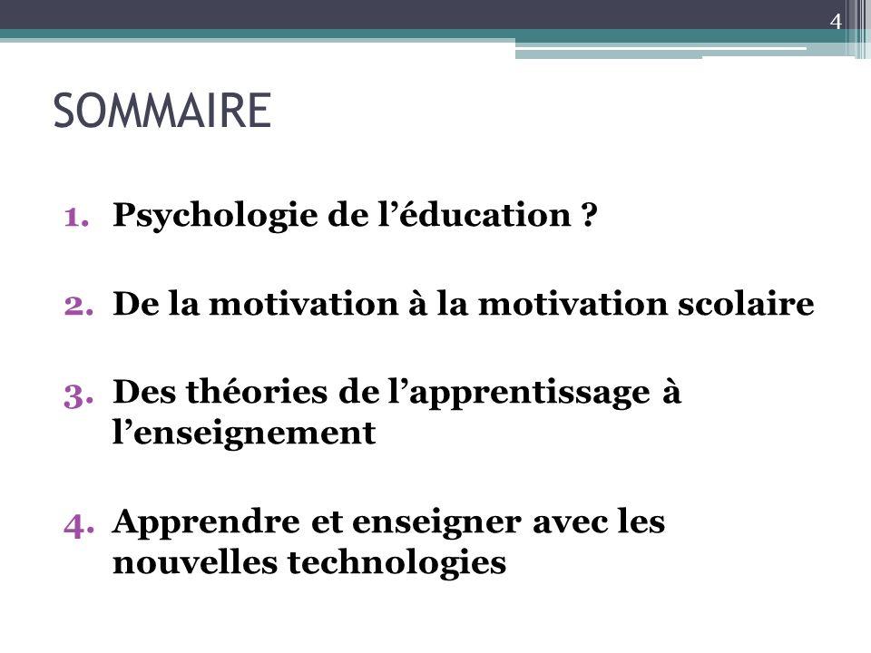 SOMMAIRE Psychologie de l'éducation