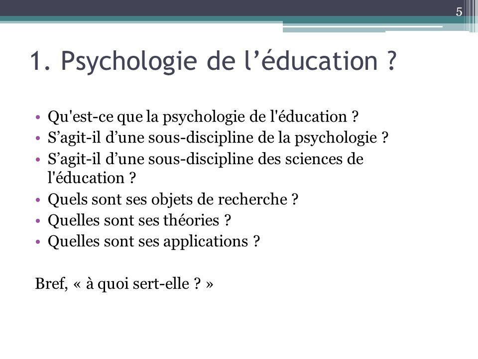 1. Psychologie de l'éducation