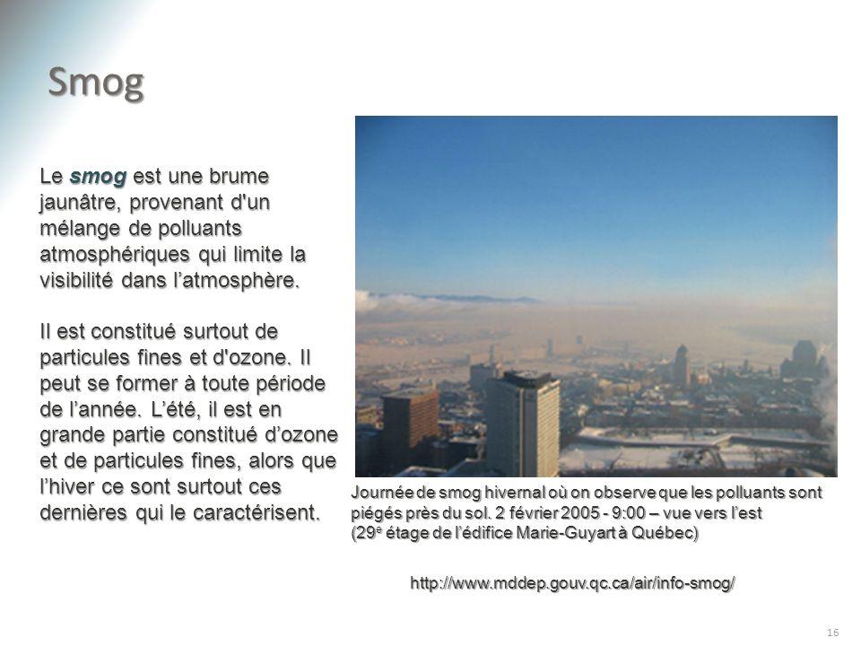 Smog Le smog est une brume jaunâtre, provenant d un mélange de polluants atmosphériques qui limite la visibilité dans l'atmosphère.