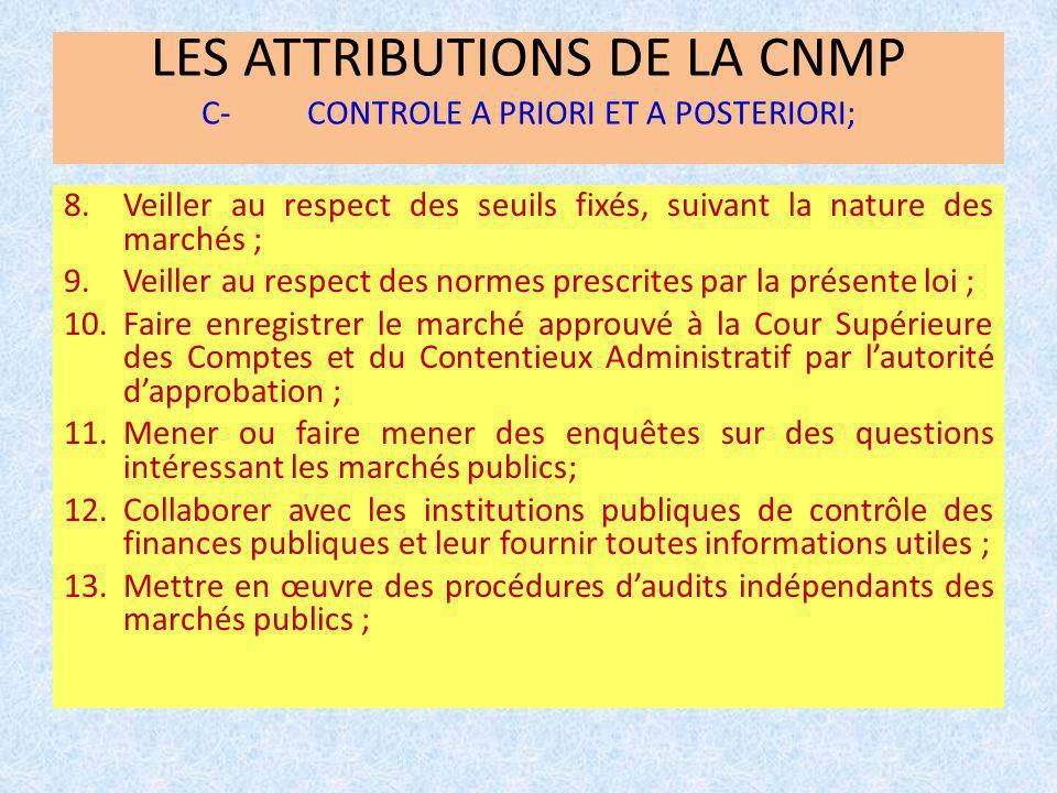 LES ATTRIBUTIONS DE LA CNMP C- CONTROLE A PRIORI ET A POSTERIORI;