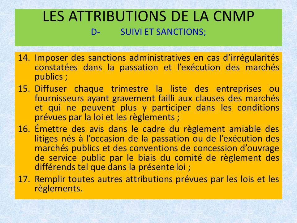 LES ATTRIBUTIONS DE LA CNMP D- SUIVI ET SANCTIONS;