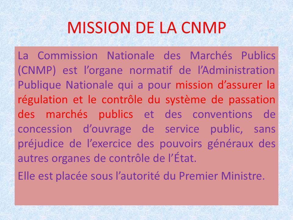 MISSION DE LA CNMP