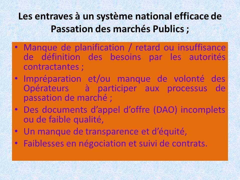 Les entraves à un système national efficace de Passation des marchés Publics ;
