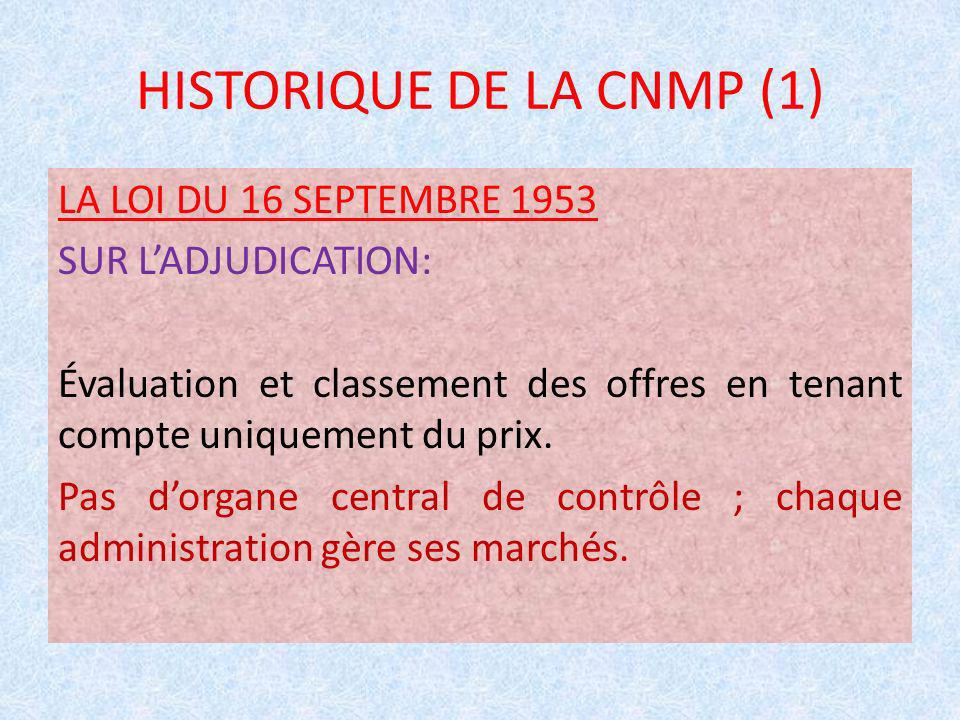 HISTORIQUE DE LA CNMP (1)