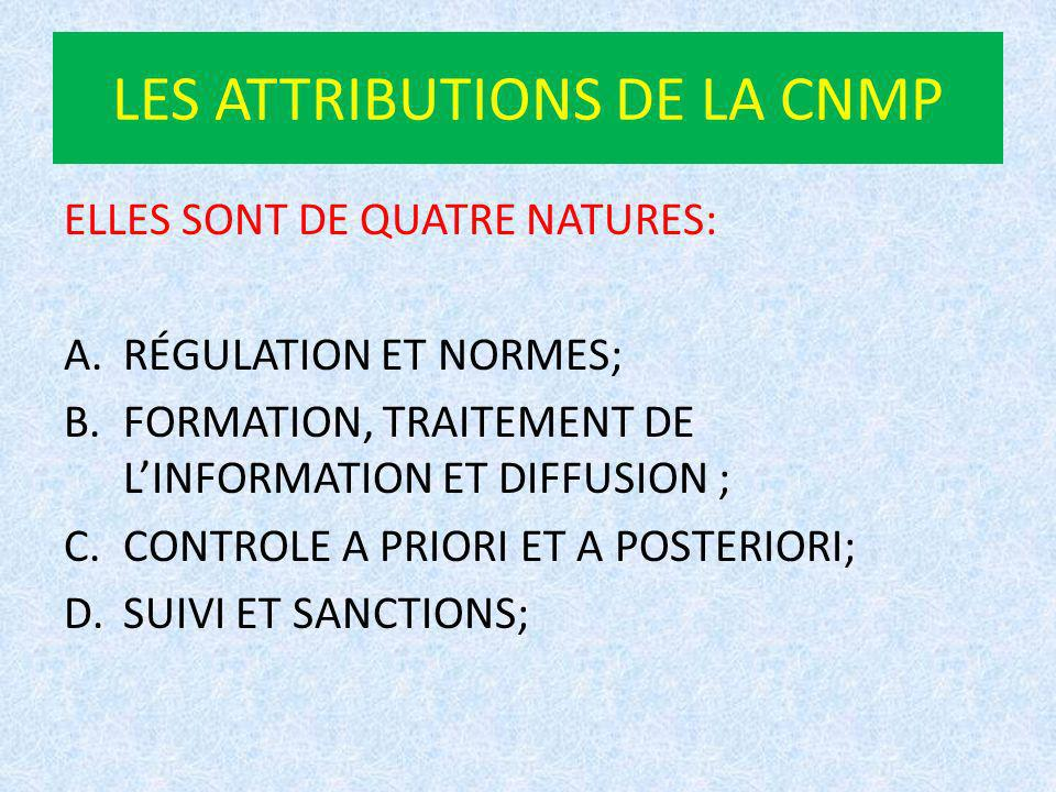LES ATTRIBUTIONS DE LA CNMP