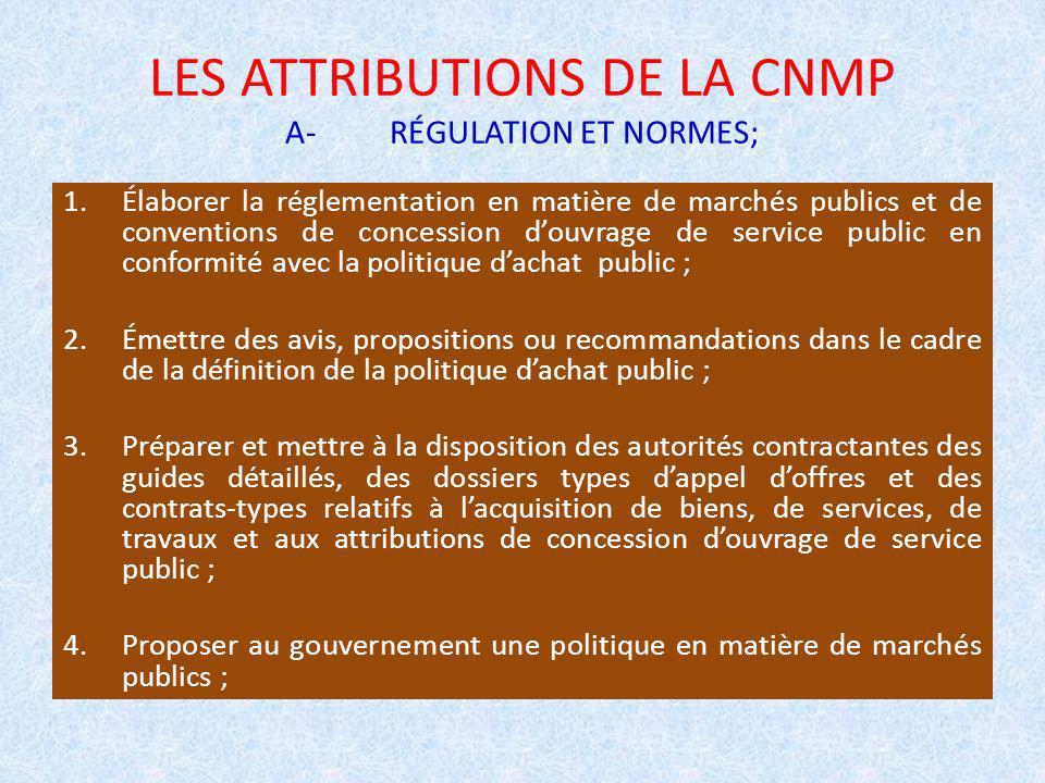 LES ATTRIBUTIONS DE LA CNMP A- RÉGULATION ET NORMES;