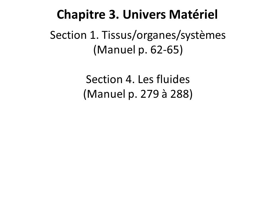 Section 1. Tissus/organes/systèmes