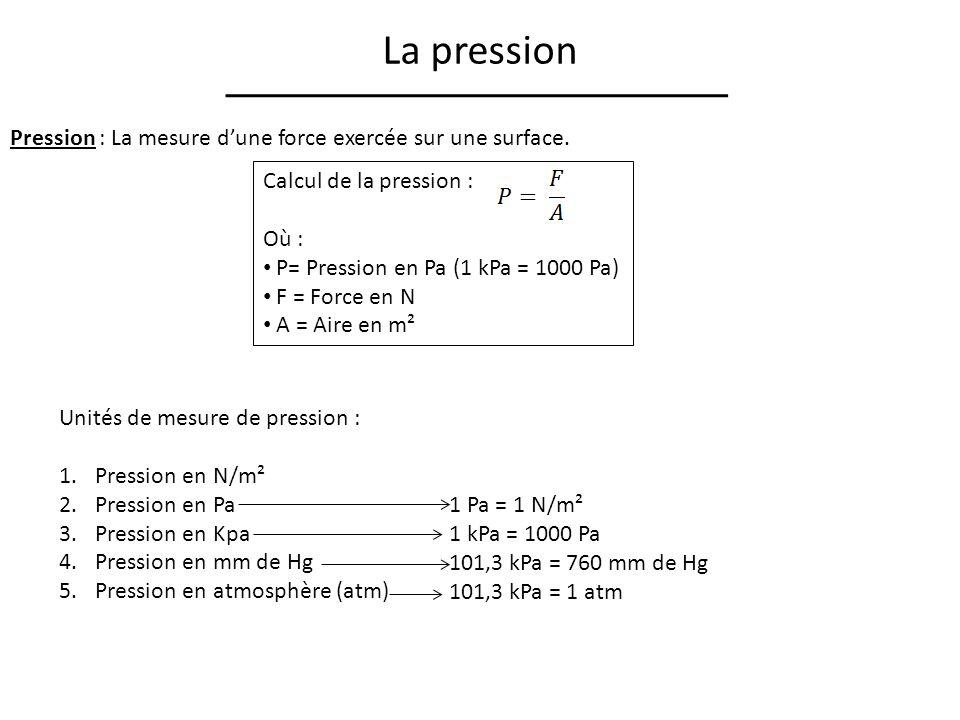 La pression Pression : La mesure d'une force exercée sur une surface.