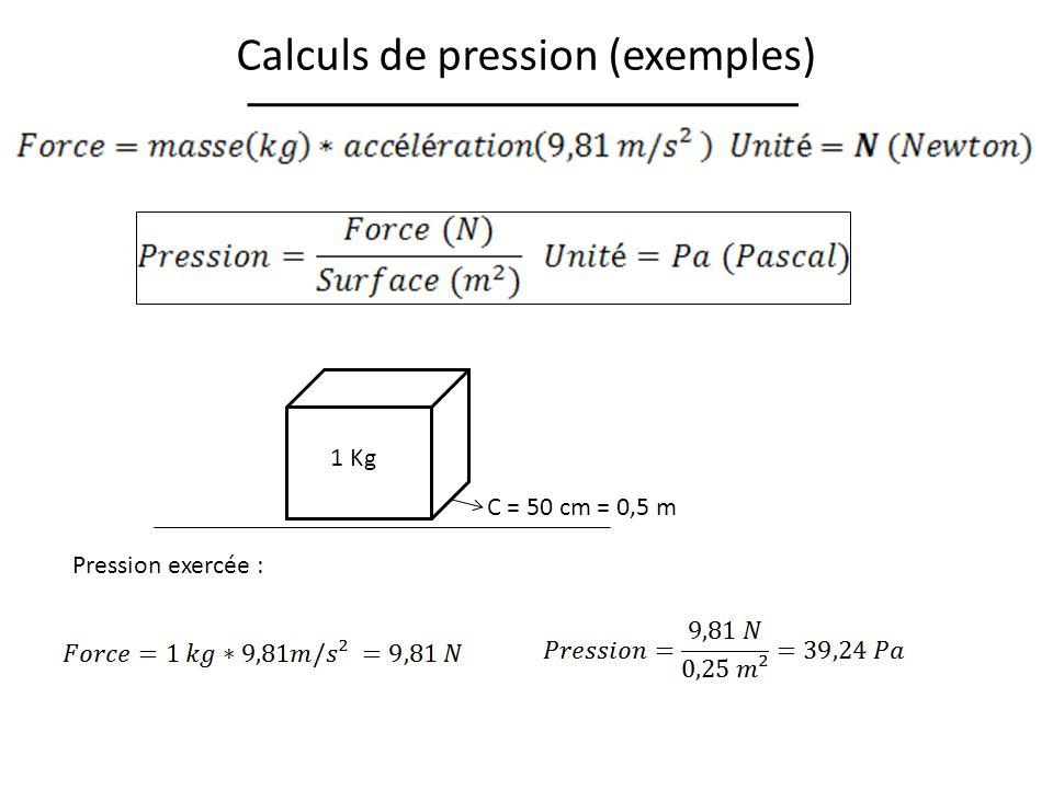 Calculs de pression (exemples)
