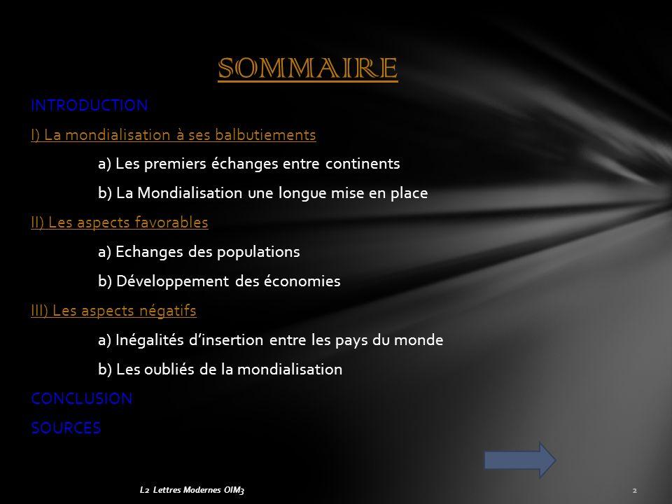 Groupe : La MondialisationOIM3