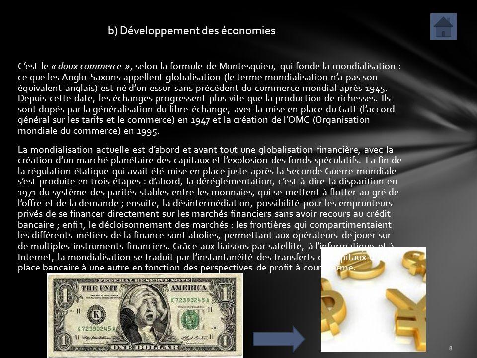 b) Développement des économies