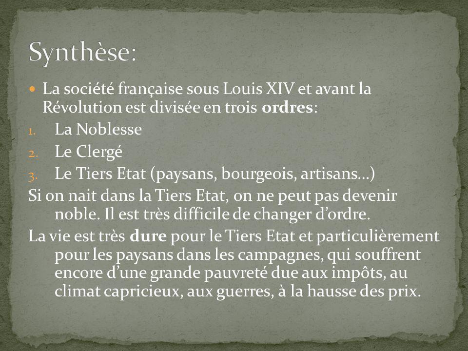 Synthèse: La société française sous Louis XIV et avant la Révolution est divisée en trois ordres: La Noblesse.