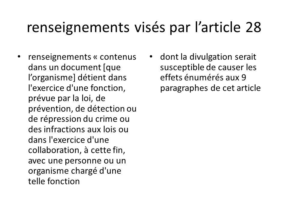 renseignements visés par l'article 28