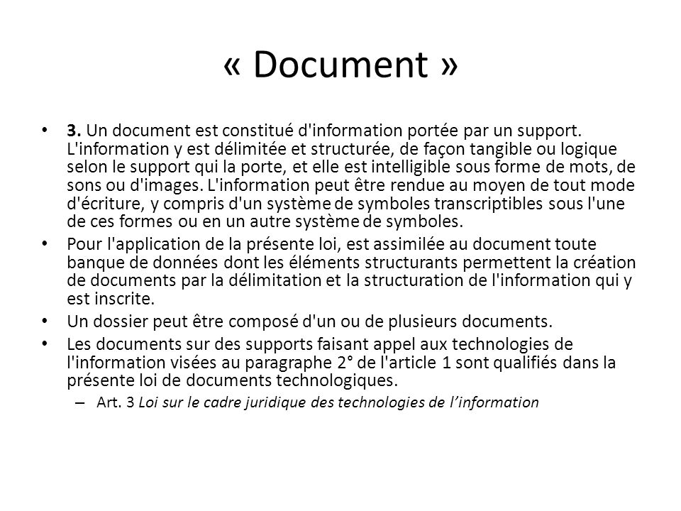 « Document »
