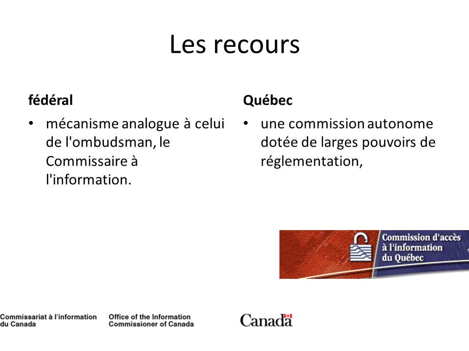 Les recours fédéral Québec