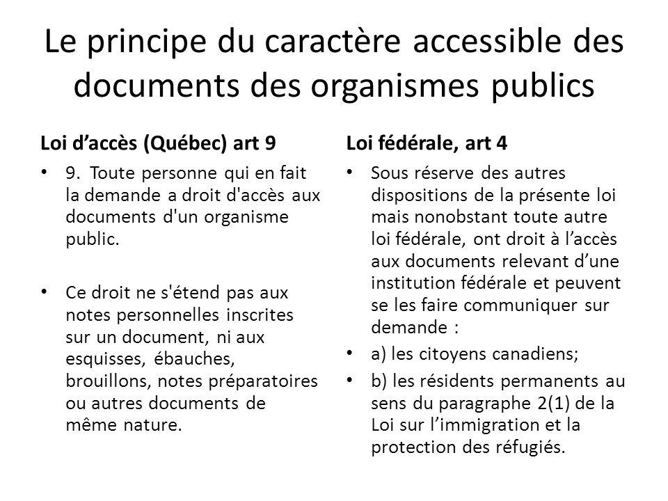 Le principe du caractère accessible des documents des organismes publics
