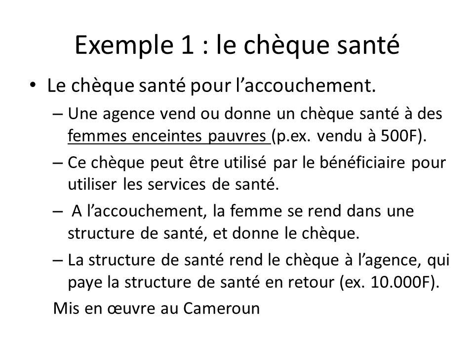 Exemple 1 : le chèque santé