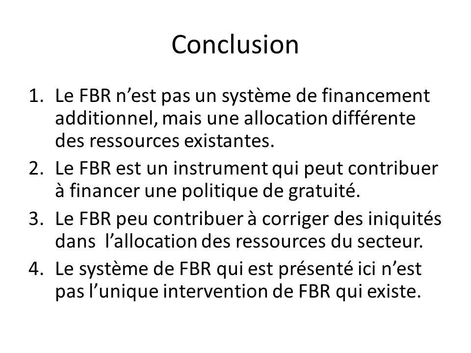 Conclusion Le FBR n'est pas un système de financement additionnel, mais une allocation différente des ressources existantes.