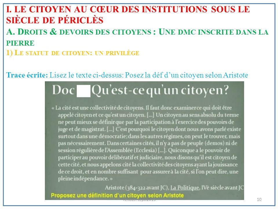 I. Le citoyen au cœur des institutions sous le siècle de Périclès A