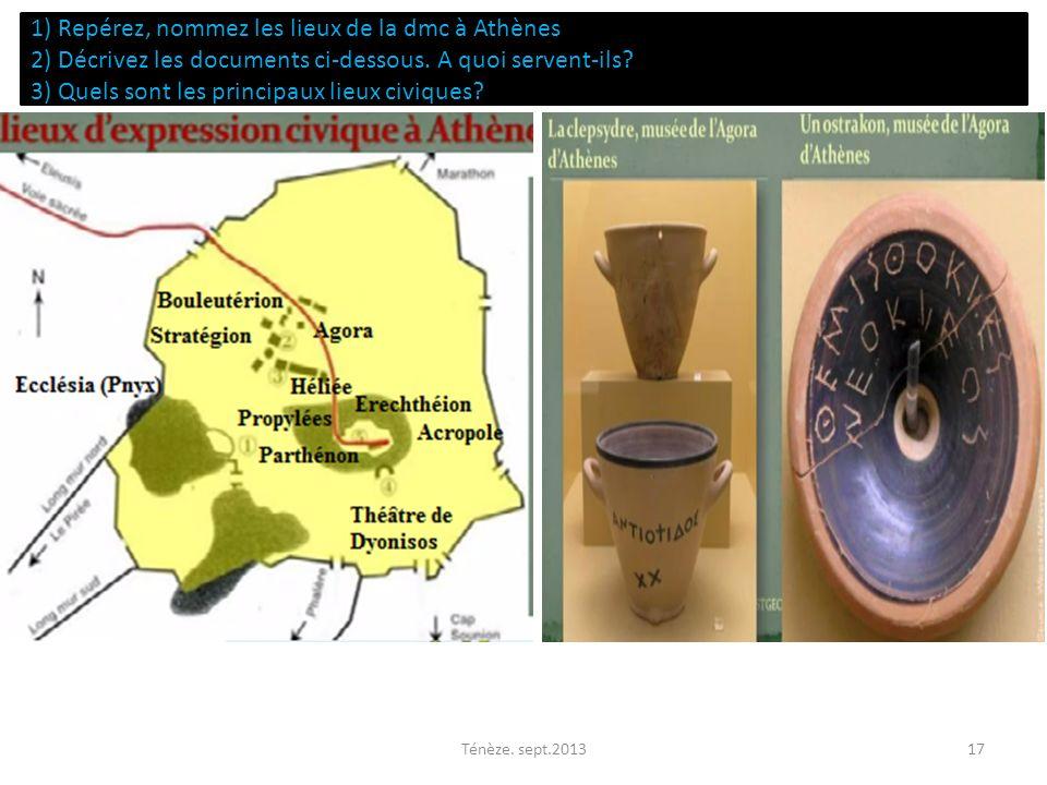 1) Repérez, nommez les lieux de la dmc à Athènes 2) Décrivez les documents ci-dessous. A quoi servent-ils 3) Quels sont les principaux lieux civiques