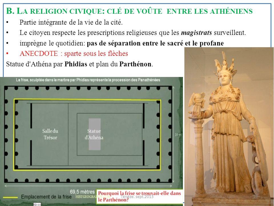 B. La religion civique: clé de voûte entre les athéniens