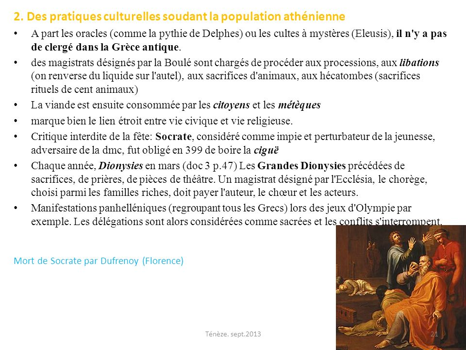 2. Des pratiques culturelles soudant la population athénienne