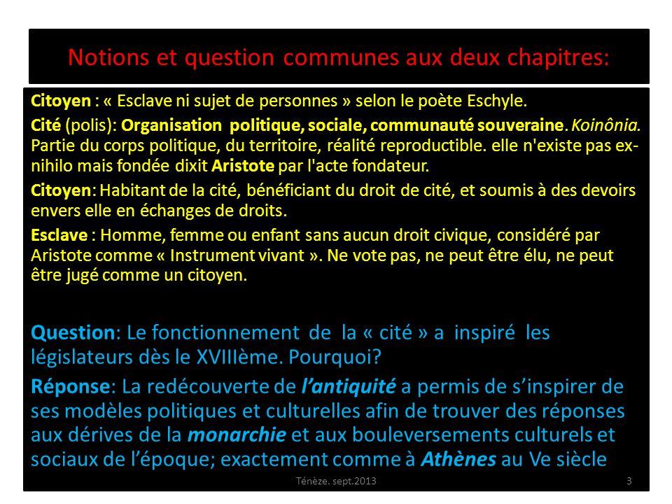 Notions et question communes aux deux chapitres: